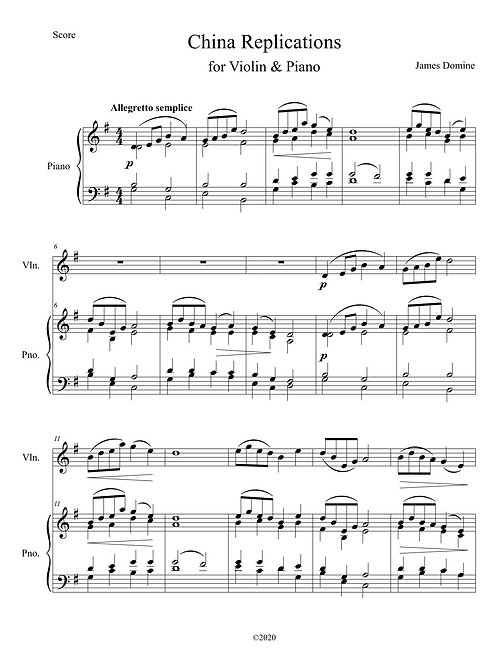 China Variations for Violin & Piano
