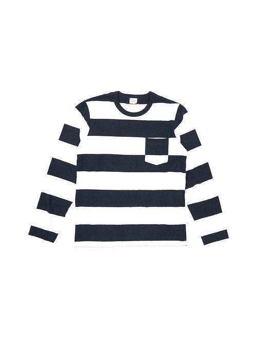 ワイドボーダー クルーネック 長袖ポケットTシャツ