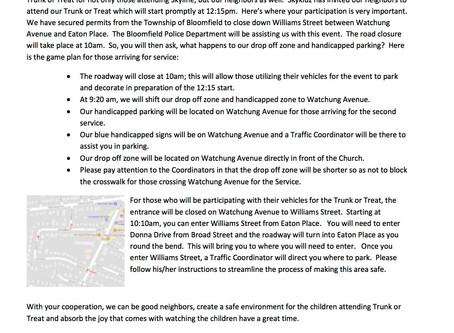 Trunk or Treat Parking Update
