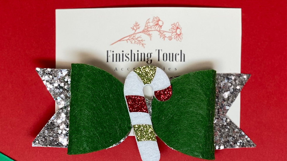 Candy Cane Holiday Bow