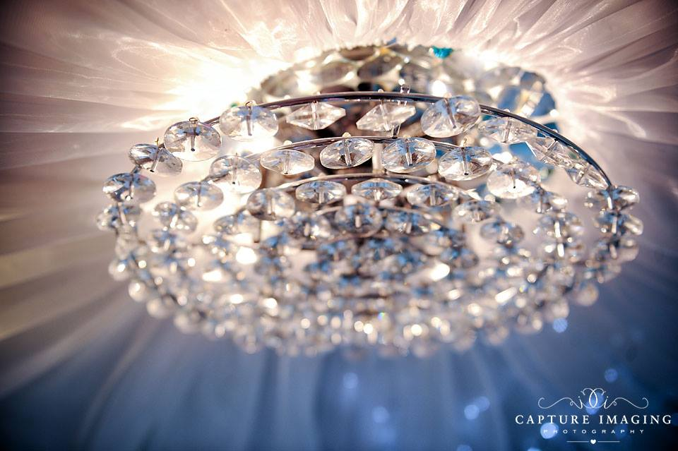 Nail Call's famous chandalier