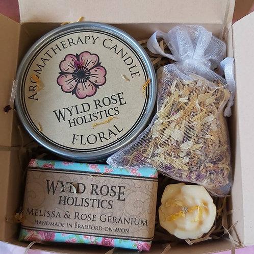 Bespoke Aromatherapy Rustic Gift Box- Rose Geranium