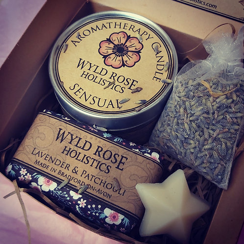 Bespoke Aromatherapy Rustic Gift Box- Sensual Lavender and Patchouli
