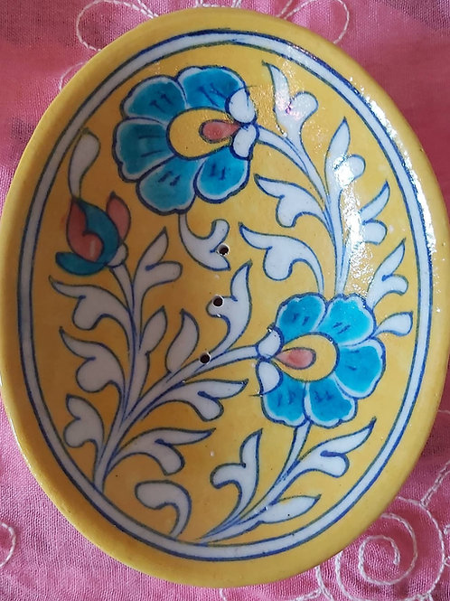 Traditionally, Hand Painted Jaipur Soap Dish- Floral