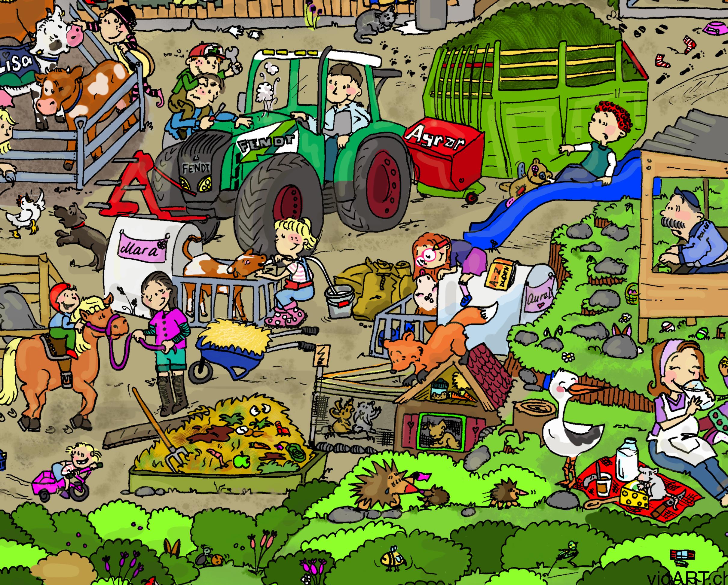 Ausschnitt Wimmelbild aus dem Kinderbuch Buurehof erläbe, Illustratorin Vida Sprenger vidART.ch