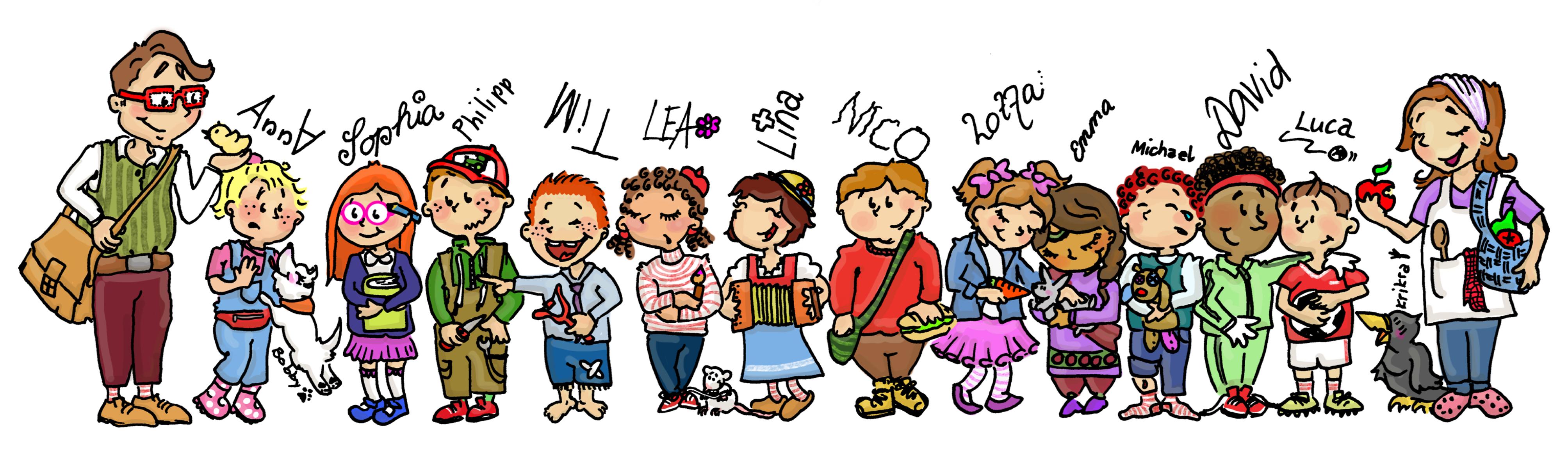 Schulklasse Buurehof erläbe, Illustration von Vida Sprenger vidART.ch