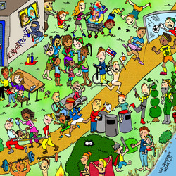 Wimmelbild-Ausschnitt Kinderrechte, Illustratorin Vida Sprenger, vidART.ch