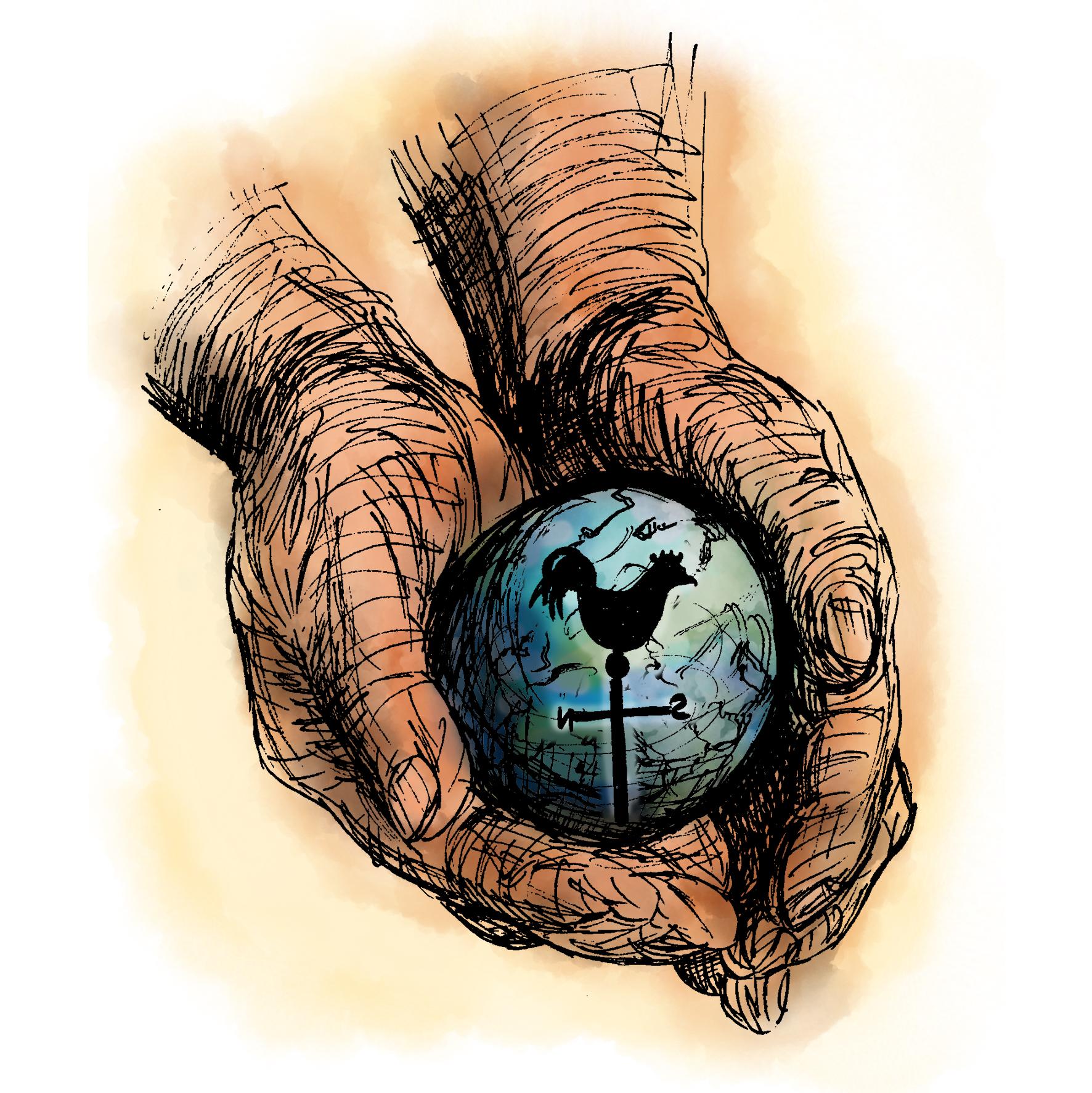 Gott hat die Welt in der Hand. Illustratorin Vida Sprenger vidART.ch