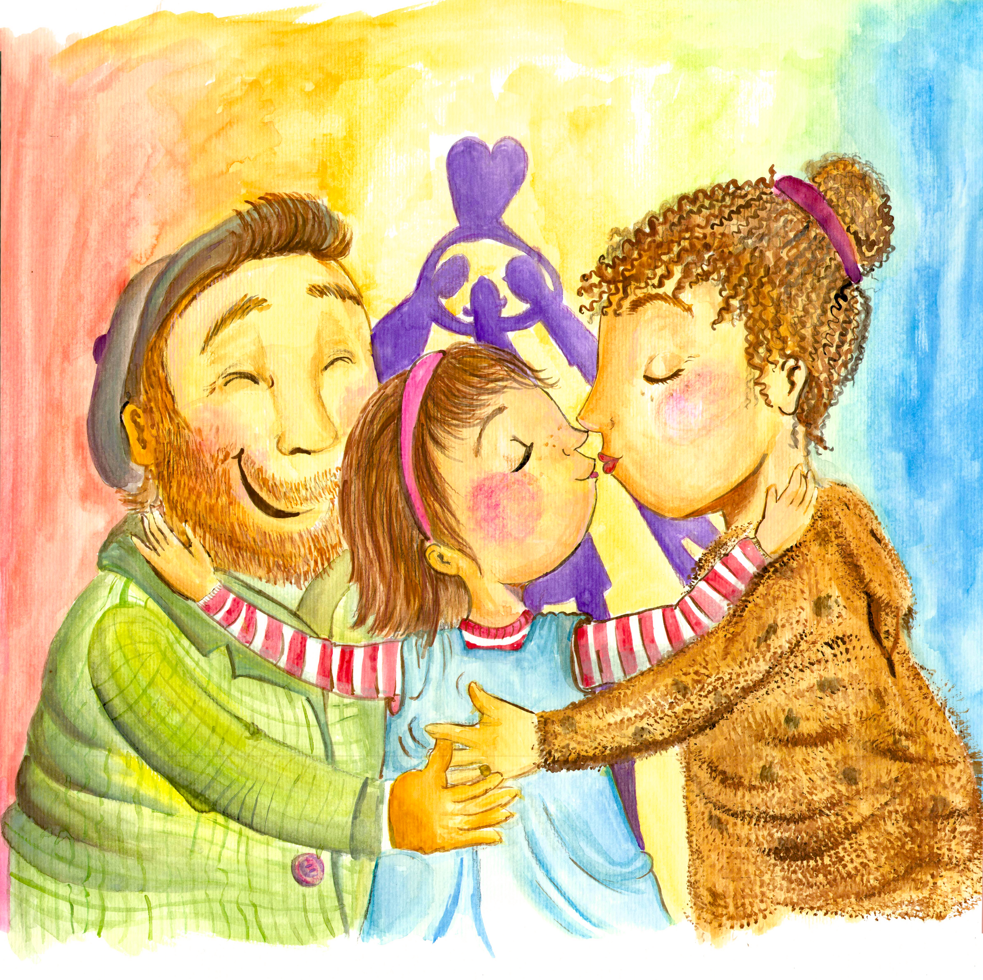 Kleine Familie, Illustratorin Vida Sprenger vidART.ch