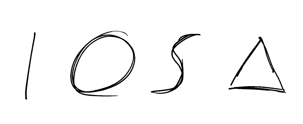 From left to right: a vertical line, a roughly circular shape, a rough S-shaped squiggle, an equilateral triangle
