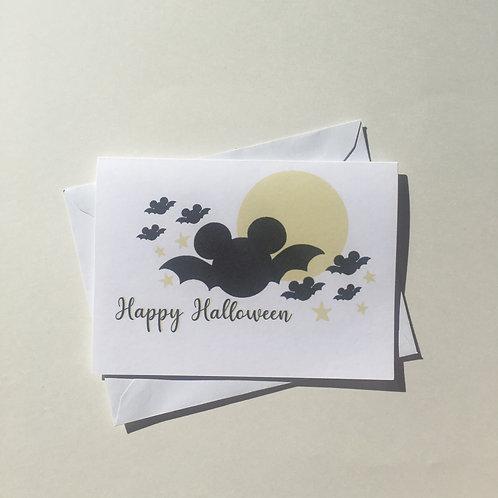 Mickey Mouse Bat Halloween Card