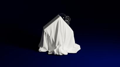 Cube And Cloth On Blue (The Veil)