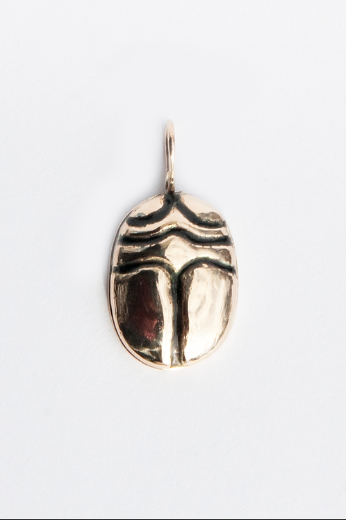 Big Mama Scarab Charm set in 14K yellow gold with enamel.