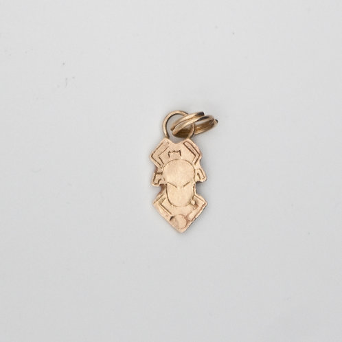 Small Scarab Charm set in 14K yellow gold.
