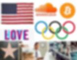 american flag, soundcloud, logo, bitcoin, olympic, rings, hollywood, star, working, john f kennedy, jfk