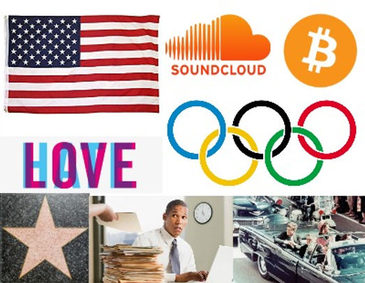 american flag, soundcloud, logo, bitcoin, olympic, rings, hollywood, star, working, john f kennedy, jfk