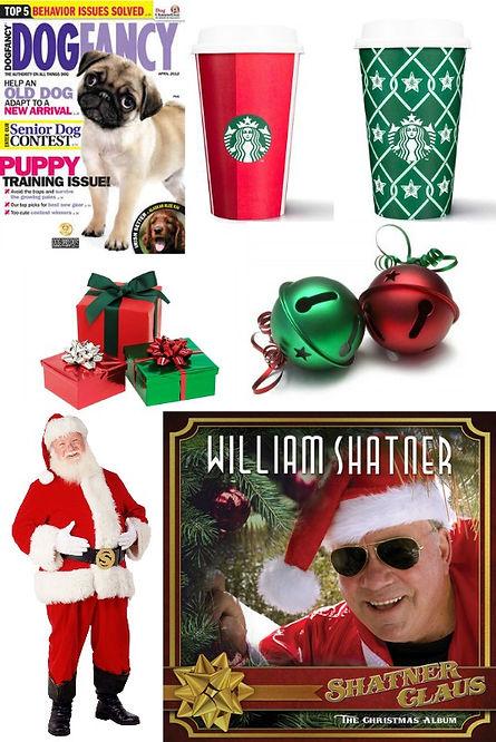 mean, christmas, dog, fancy, starbucks, cups, presents, jingle, sleigh, bells, santa, willia, shatner, claus, album, cd, music