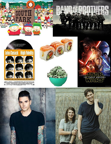 south park, band of brothers, high, fidelity, sushi, mint, chocolate, chip, ice cream, star wars, force awakens, poster, dashboard cofessional, chris carraba, front, bottoms, comedy, podcast