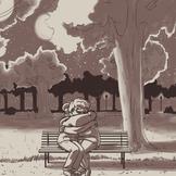forgotten moon night scene illustrationn