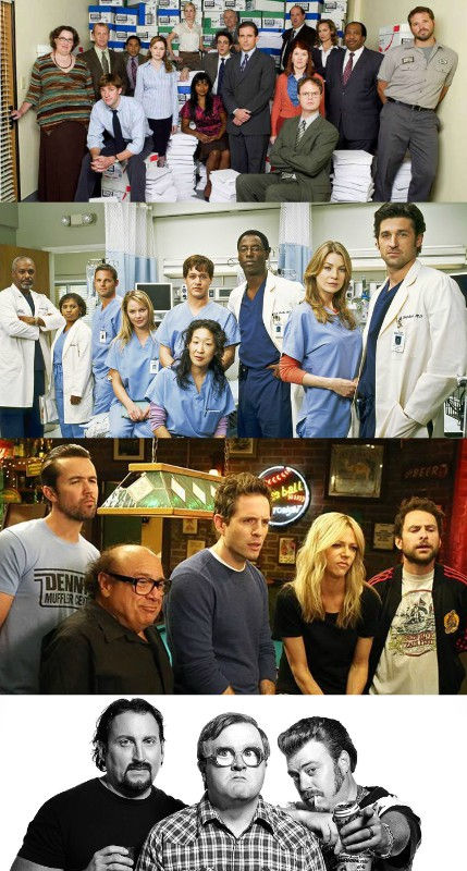 office, grey's, anatomy, it's, always, sunny, in, philadelphia, trailer, park, boys, tv, character, comedy, podcast
