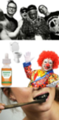 cbd, oil, bottle, blink 182, lil, wayne, drop, toilet, clown, toothbrush, teeth, activated, charcoal, toothpaste, tooth, paste, brush