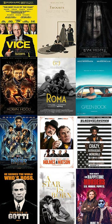 pw goes to the movies,Roma, Holmes & Watson, Happytime Murders, Gotti, The Favourite, Robin Hood, A Star Is Born, Winchester, Vice, Black Panther, Green Book, Blackkklansman, Bohemian Rhapsody