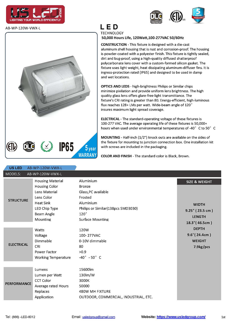 Spec for Wallpack AB-WP-120W-VWX-L(CCT30