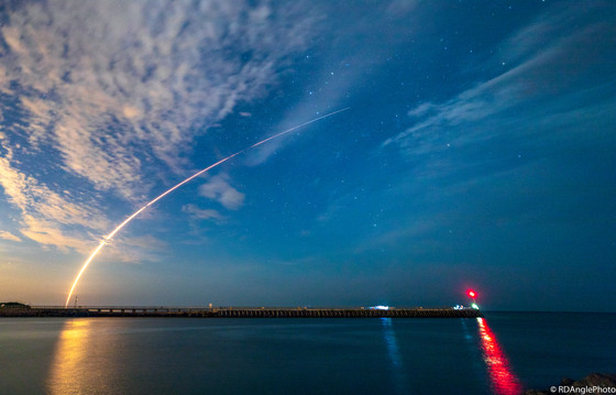 The Falcon 9 soars through the Florida night sky carrying Telstar 19v