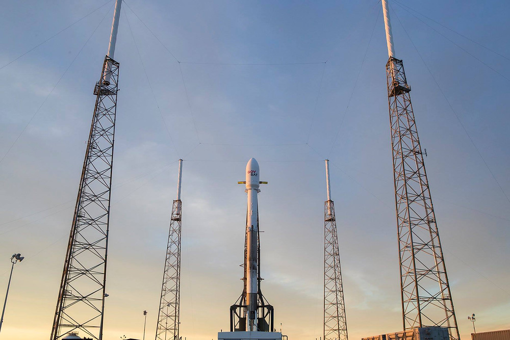SpaceX's Falcon 9 vertical at SLC-40 with GovSat-1 prior to yesterday's launch attempt. Photo // SpaceX