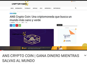 ANS Crypto Coin on CriptoPasion.com for our Spanish Traders