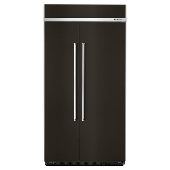 Built-In Side By Side Refrigerator in Black Stainless with PrintShi