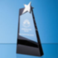 Clear & Onyx Black Optical Crystal Slope Award with Silver Star(SY7023)