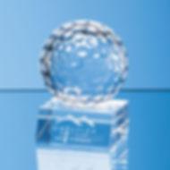 Optical Crystal Golf Ball Mounted on a Clear Crystal Base (SY7056)