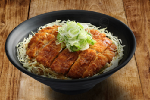 Bowl of rice topped with Pork cutlet