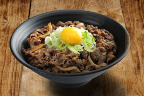Bowl of rice topped with Fried Beef