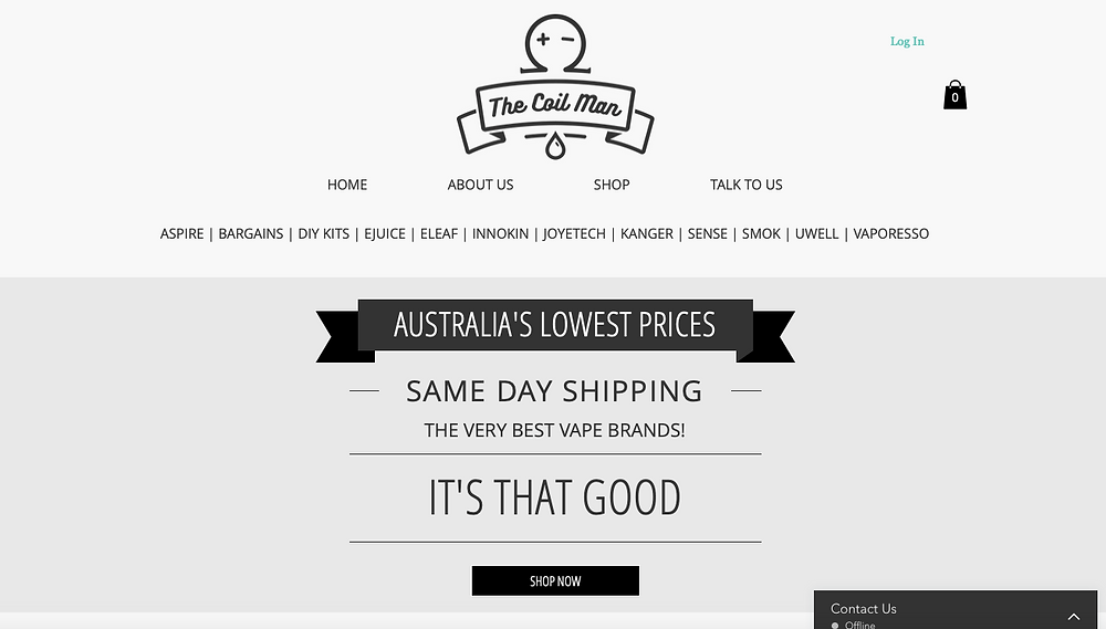 A screenshot of TheCoilMan website in 2018.