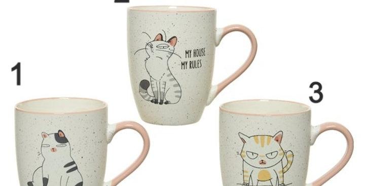 Mugs porcelaine imprimés chat, 3 différents