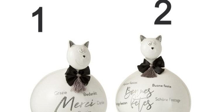 Chat Texte Fetes/Merci Ceramique Blanc/Argent Large Assortiment De 2
