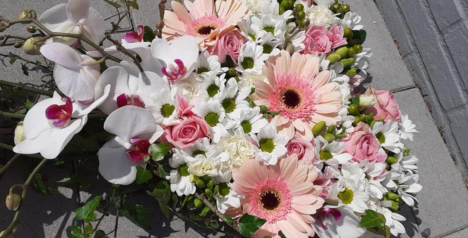 Coeur rose/blanc avec sa chute +- 40x80cm