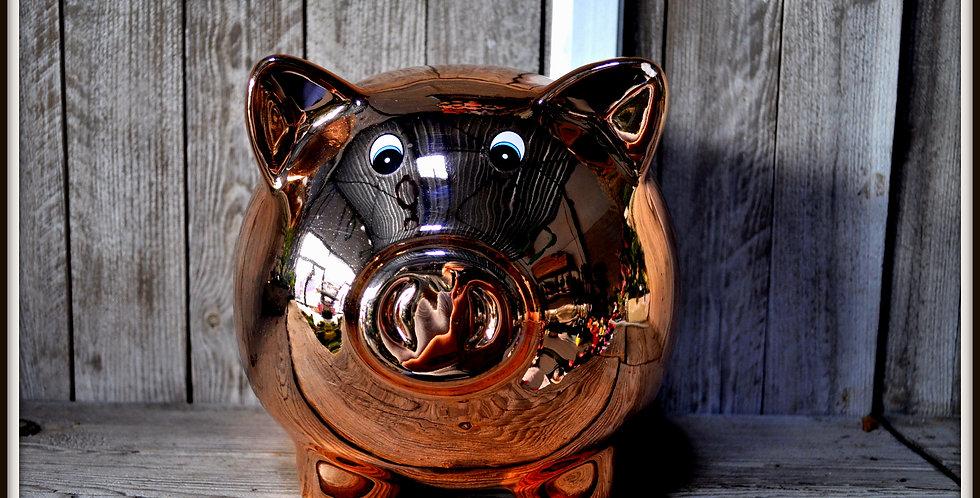 Tirelire cochon bronze 30x20 céramique