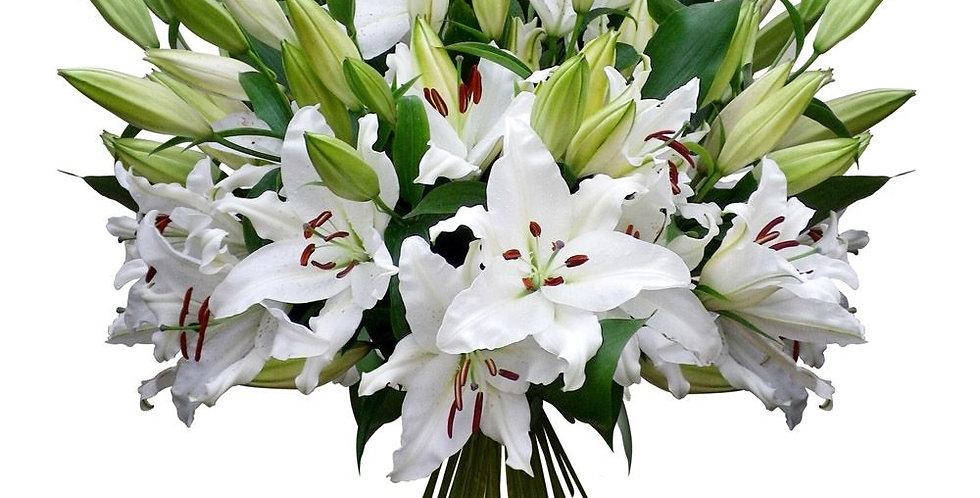 Bouquets de 10 Lys blanc + verdure  +-80/90cm tige