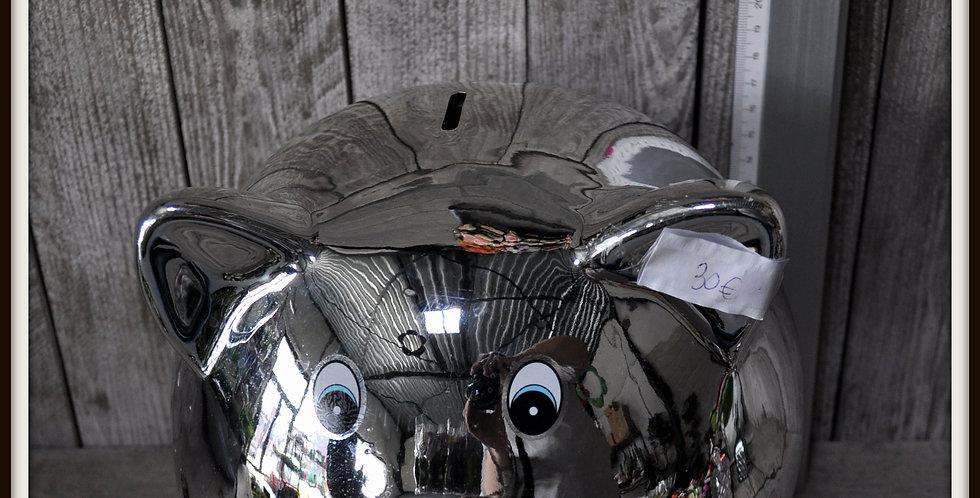 Tirelire cochon argentée 30x20 céramique