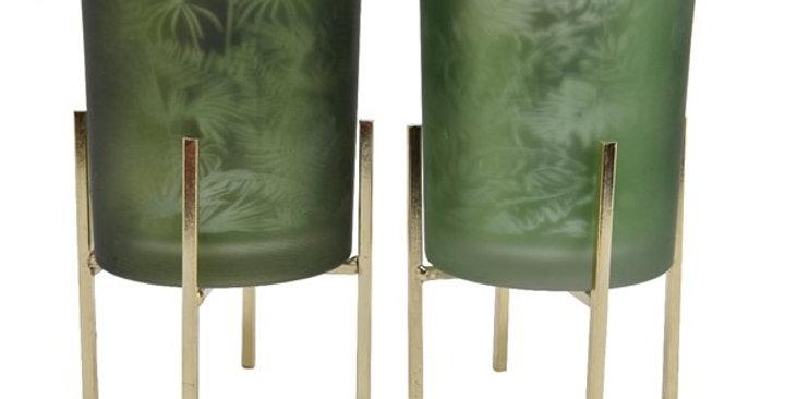 Photophore verre s/support métal doré 2 choix