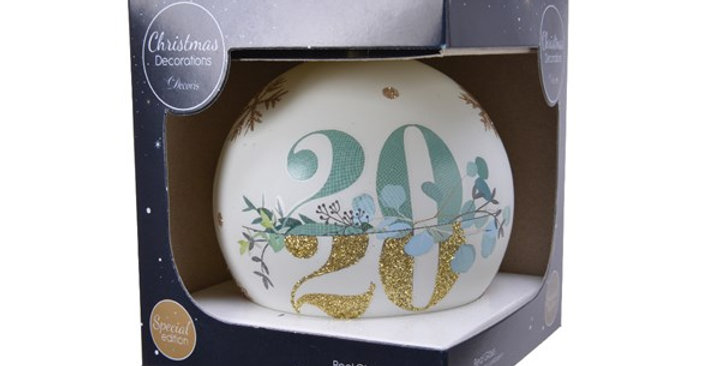 Boule verre 2020 (10cm!) + boite cadeau