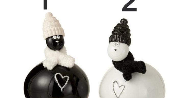 Chat Coeur Bonnet Ceramique Blanc/Noir Large Assortiment De 2