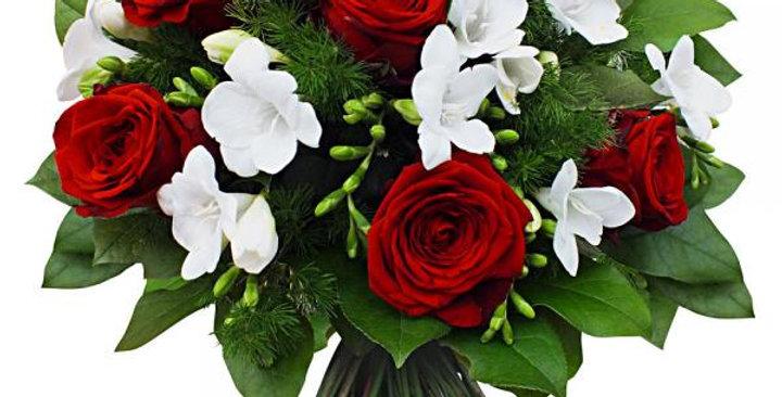 Bouquet rond: ton rouge & blanc