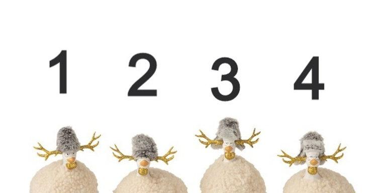 Poule Renne Imitation Fourrure Ceramique Beige/Gris/Or Small Assortiment De 4