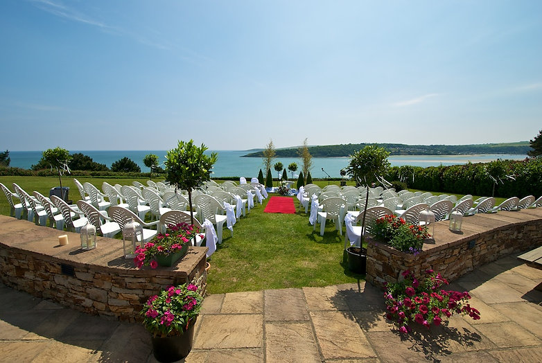 Outdoor wedding setting at The Pink Elephant