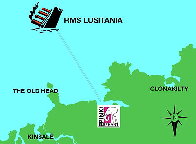 Map of site of Lusitania sinking