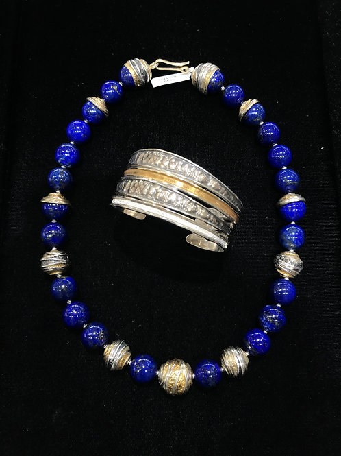 Lapis and Mixed Metal Bead Necklace